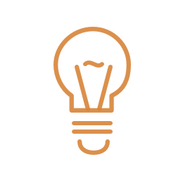 Medium size light bulb icon orange
